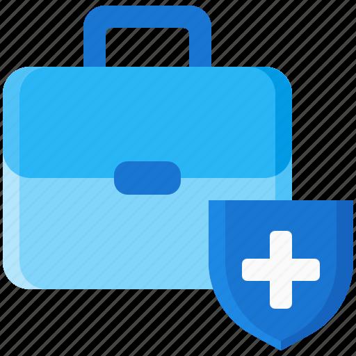 bag, health, insurance, shield, suitcase icon