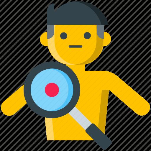 diagnose, diagnostics, find, magnifier, search, sickness, symptoms icon