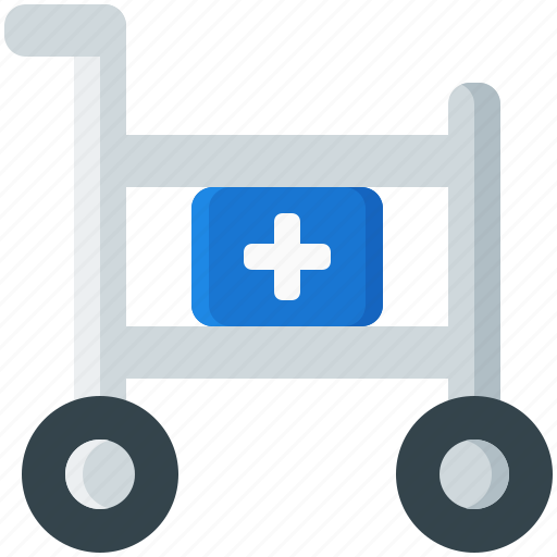 cart, first aid kit, medical, medicine, supplies, supply, trolley icon