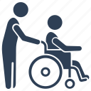 disable, mentally, paralyzed, patient, wheelchair icon