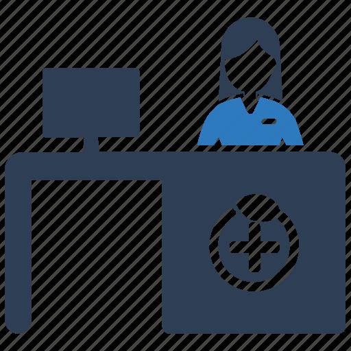 help desk, medical, reception, service icon
