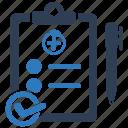 audit, checklist, clipboard, exam, medical checklist, test icon