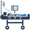 healthcare, icu, medical, patient, treatment icon