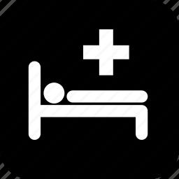 bed, healthcare, hospital, hospital bed, medecine, medical, patient, stick figure icon
