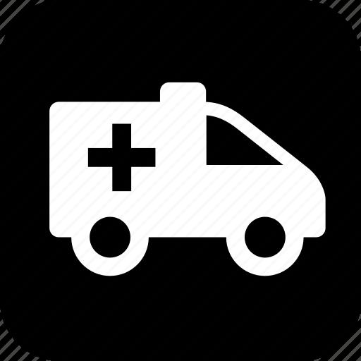 ambulance, er, healthcare, medecine, medical, medical cross, wheels icon