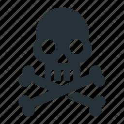 bone, caution, danger, death, skeleton, skull icon