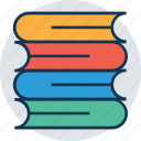 books, books stack, business files, container book, data files, file storage, four books, lab books, library, office material, stationery icon