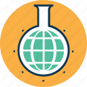 conical flask, erlenmeyer flask, flask, globe in flask, lab research, lab test, laboratory experiment icon
