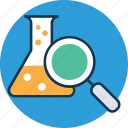 chemistry lab, experiment, find lab, laboratory experiment, magnifier with beaker, research, view experiment icon