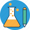 beaker with pencil, conical flask, erlenmeyer flask, flask, lab research, lab test, laboratory experiment icon