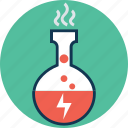 chemical experiment, conical flask, erlenmeyer flask, flask, hot instrument in beaker, laboratory experiment icon