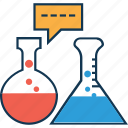 beaker, beaker with chat, lab test, laboratory equipment, science lab instruments, test tube icon