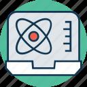 atom, biomedical, electron, electron on laptop, hexagons, molecule, science icon