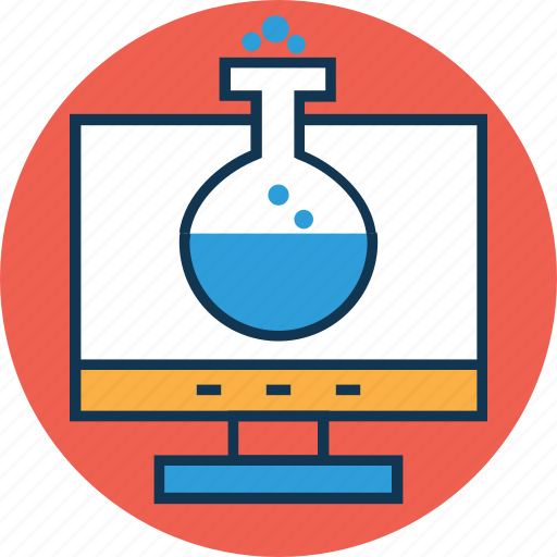 analytics, beaker, experiment lab online, hourglass, infographic, lcd, online lab icon