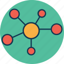analytics, atom, biology, chart, compound, data, diagram, draft, hexagons, molecule, molecule structure, period timeline graph icon