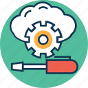 cloud configuration, cloud configure, cogwheel, gear, repair, setting, wrench icon