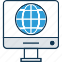 cartography, destination, earth, globe, internet, lcd with globe, planet icon
