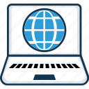 cartography, destination, earth, globe, internet, laptop with globe, planet icon