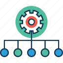 cog with hierarchy, connection, connectivity, hierarchy settings, network, networking, share icon