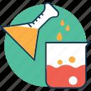 beaker, chemical thrown to beaker, glass beaker, lab beaker, lab test, laboratory equipment, measuring cup icon