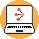 atom, dna, laptop, laptop screen, molecule, science icon