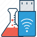 chemical, conical flask, erlenmeyer flask, flask, flask with flash, lab, laboratory experiment, usb tester icon