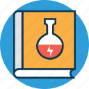 beaker on book, chemistry book, education, experiment book, knowledge, lab book, library icon