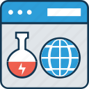 analytics, beaker, experiment lab online, hourglass, infographic, laptop, online lab icon
