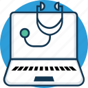 ehealth, healthcare, online doctor, online medical help, online treatment, secteshop with laptop icon