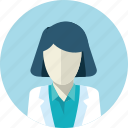 avatar, doctor, flat design, medicine, people, round, woman icon