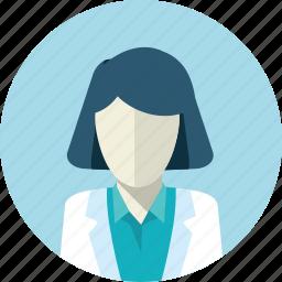 avatar, doctor, flat design, medicine, people, round, woman icon