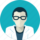 avatar, doctor, eyeglasses, flat design, man, medicine, people icon