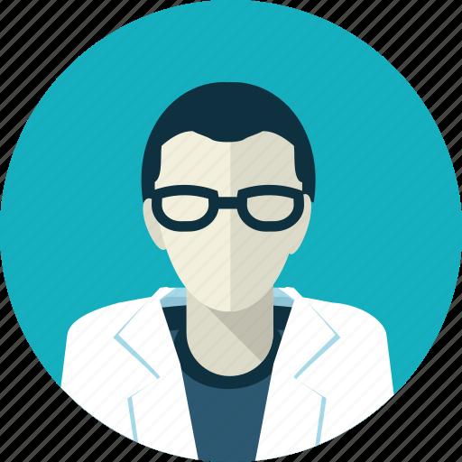 avatar, doctor, eyeglasses, flat design, man, medicine, people icon