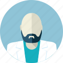 avatar, doctor, flat design, hairless, man, medicine, people icon