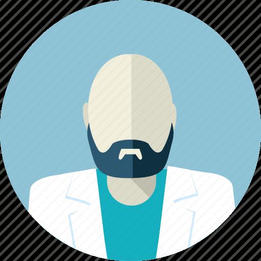 avatar, doctor, flat design, hairless, man, medicine, people icon