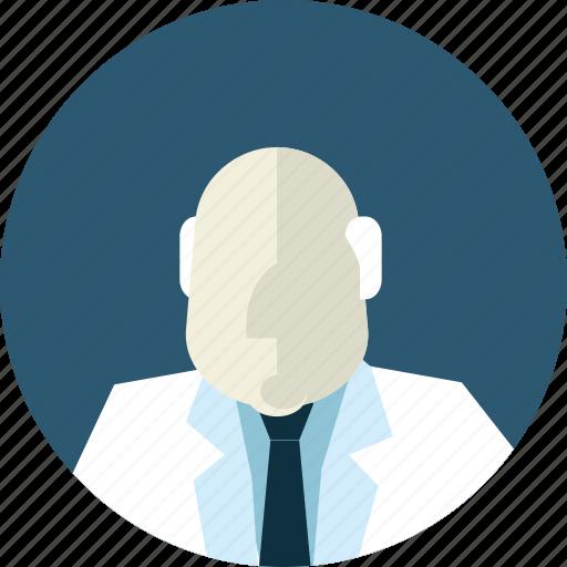 avatar, doctor, flat design, man, medicine, people, professor icon