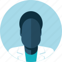 avatar, black man, doctor, falt design, male, medicine, people icon