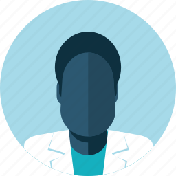 avatar, black man, doctor, falt design, male, medicine, people icon