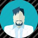 avatar, beard and moustache, doctor, falt design, man, medicine, people