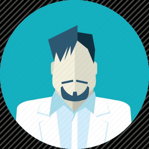 avatar, beard and moustache, doctor, falt design, man, medicine, people icon