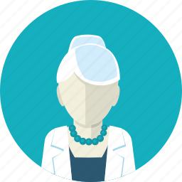 doctor, flat design, health, medicine, old, people, woman icon