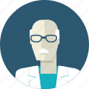 avatar, doctor, flat design, man, medicine, people, senior icon