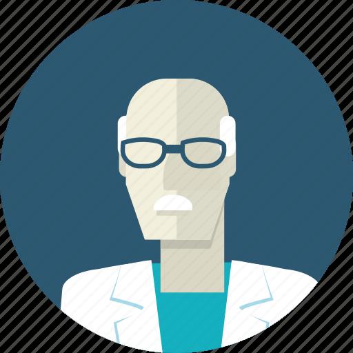 avatar, doctor, flat design, man, medicine, people, senior icon