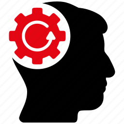 android, artificial person, cog wheel, gear rotation, intellect, refresh, technology icon