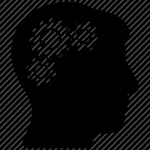 android, artificial person, brain wheels, cog wheel, gear rotation, mind mechanics, refresh icon