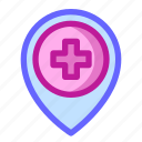 health, hospital, location, map, medical, pin icon