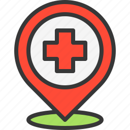 health, hospital, location, map, medical, medicine, pin icon