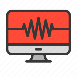computer, health, heart, heartbeat, medical, monitoring icon