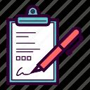 dossier, record, note, signature, write icon