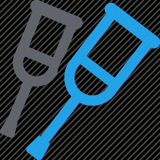 crutches, healthcare, medical care, medical supplies icon